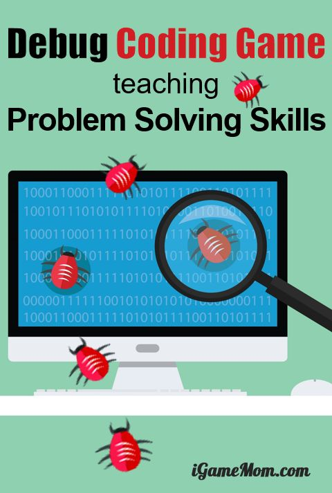 Printable Computer coding game teaching kids debug, finding and fixing program errors, fun off-screen activity for problem solving skills. Learn programming unplugged, Hour of Code activity