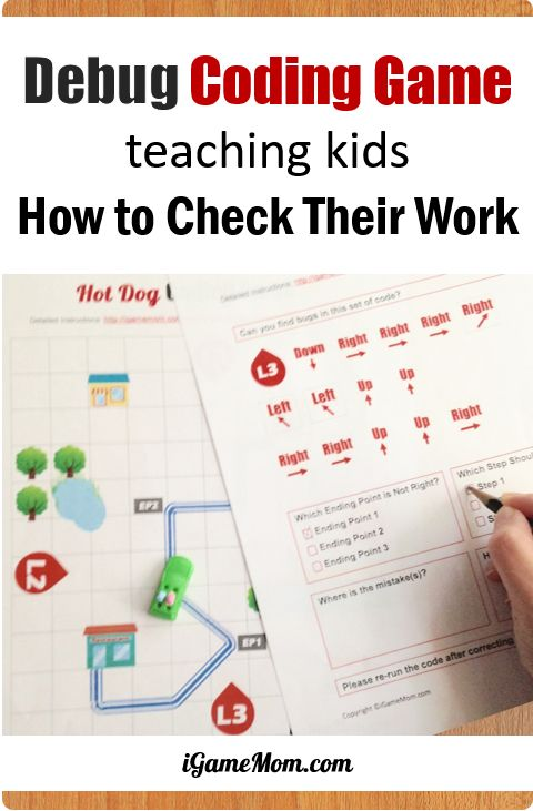 Printable Computer coding game teaching kids how to check their work. Debug - finding and fixing program errors. Fun off-screen activity for problem solving skills | learn programming unplugged | hour of code