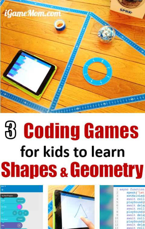 Coding Games for kids to learn Shapes and Geometry with a cool coding toy, for preschool to grade 6. Great for hour of code, math center or homeschool