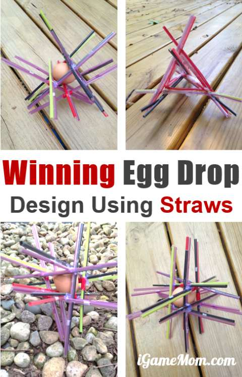 STEM Challenge: Egg drop science project design with straw winning ideas and tips. Fun outdoor physics science STEM project for kids of all ages, fun science challenge for project based learning.