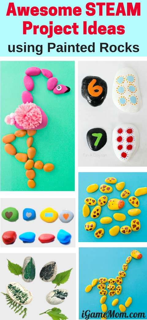 Painted rocks STEAM projects for kids to learn science math art and more