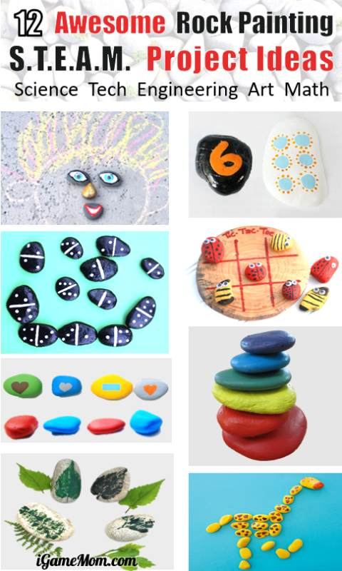 Easy rock painting STEAM activity ideas for kids learn Science Tech Engineer Math Art