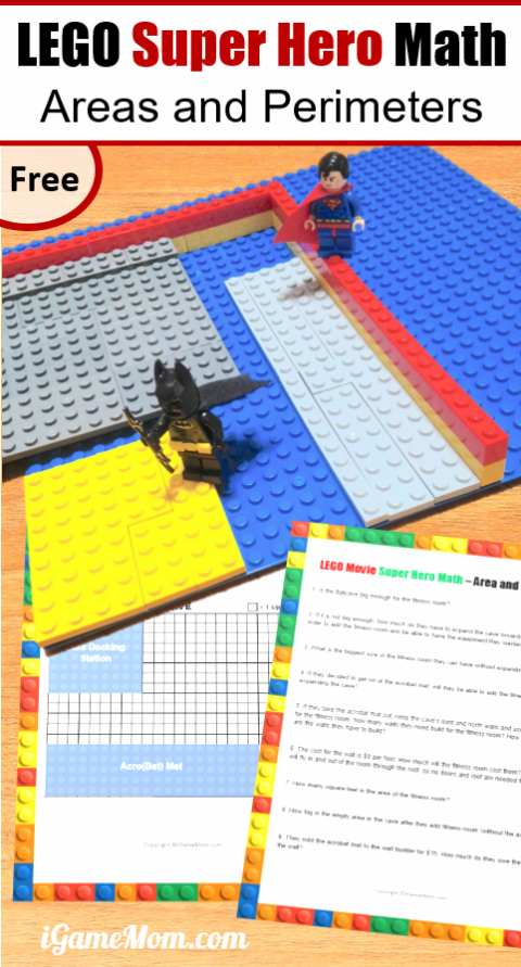 LEGO Math free printable worksheet area perimeter