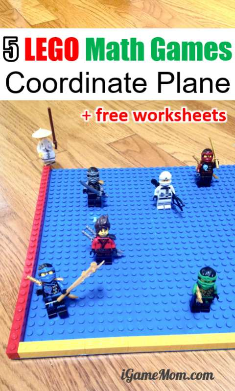 LEGO Ninjago math game for coordinate plane and ordered pair with free printable worksheets and hands on activity ideas, for grade 1 to 6 | STEM