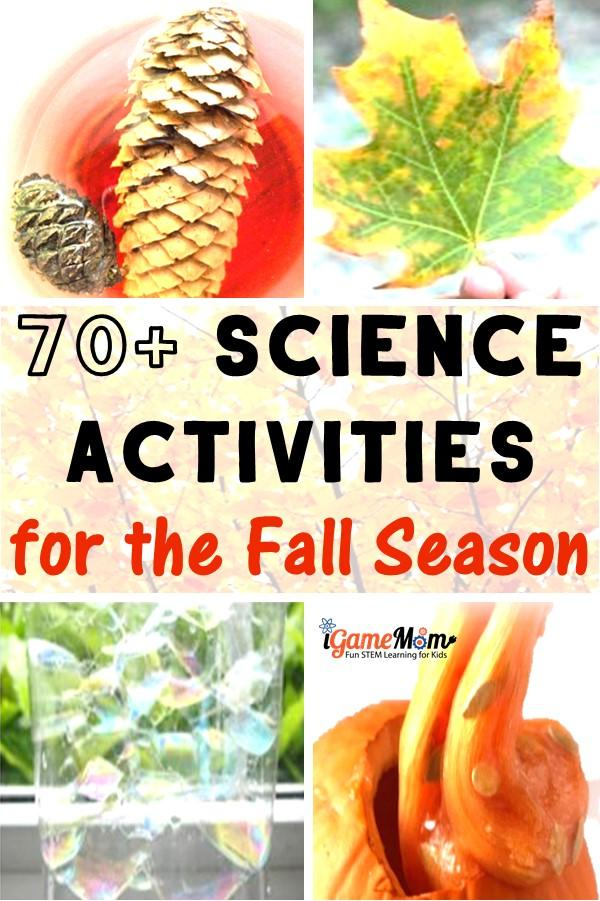 Fall science activities for kids: pumpkins, leaves, apples, pine cones, sun, moon, stars, wind, rain, … and more. Wonderful STEM resource for classroom, homeschool or after school enrichment.