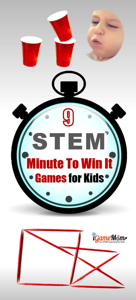 STEM Challenge Minute to Win It Party Game Kids Love. Fun ideas for classroom party or family holiday party and birthday party