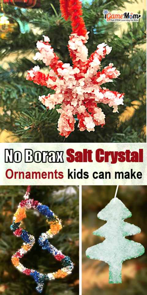 Grow salt crystal ornaments at home, so easy kids can make them at home. So fast, you don't have to wait over night to see the effect. Just regular table salt, pipe cleaner, contruction paper. No borax. Fun STEAM holiday project to learn science chemistry solubility and saturation