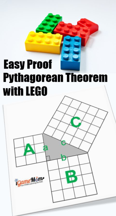 LEGO Math: Easy proof Pythagorean Theorem with LEGO, with Step-by-step instruction and a full size LEGO proof template and table of Pythagorean Triples