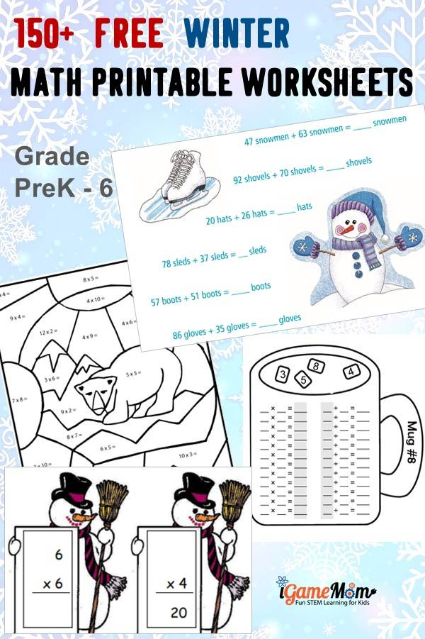 Free Winter Math Worksheets Preschool Grade5, learn counting, numbers, addition, subtraction, multiplication, division, statistics, charts, algebra equations, geometry with snowflakes, polar bear, ice cube, ...