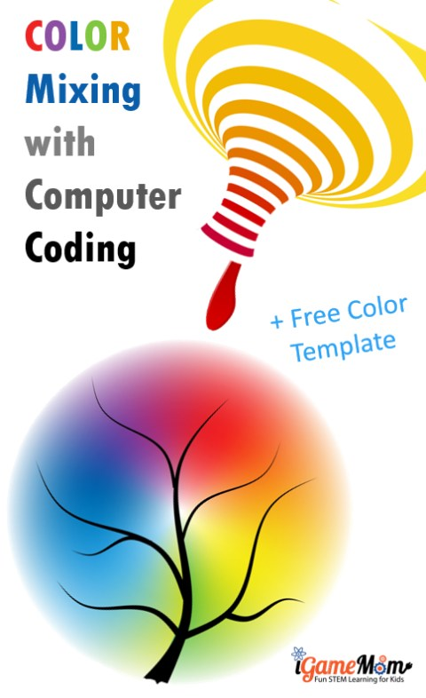 Color mixing activity with computer coding for kids preschool and kindergarten. Learn RGB code and color mixing theory and computer skills with free spring themed coloring template. STEAM project for computer and art class