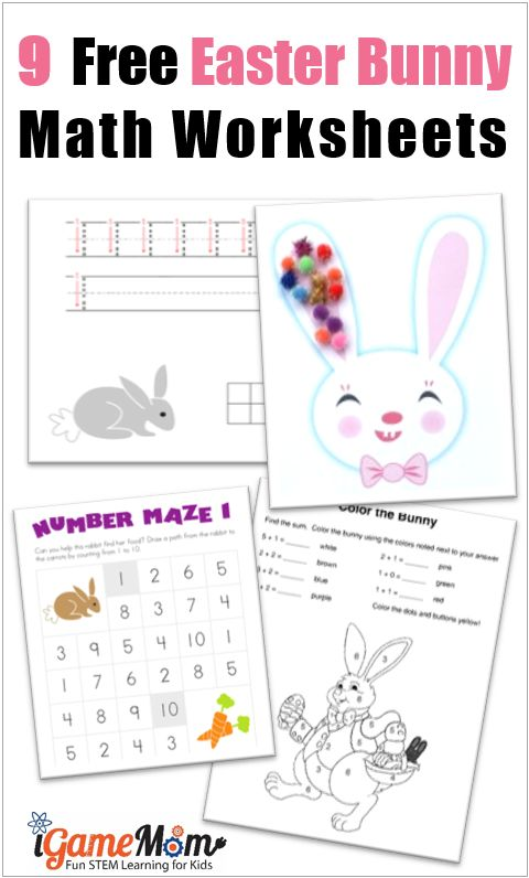 9 Free Easter Bunny Math Worksheets Games for preschool, kindergarten to early elementary school kids, counting, number, color by the sum, number maze, ... Fun math printable activities for kids around Easter and any time of the year.