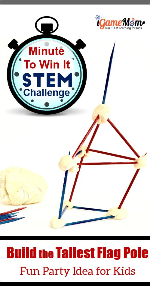 Minute to Win It Game STEM Challenge at Dinner Parties with a 4th of July theme. Easy 4th of July party activities for kids and adults with no prep needed. Printable game rules and score recording sheets.