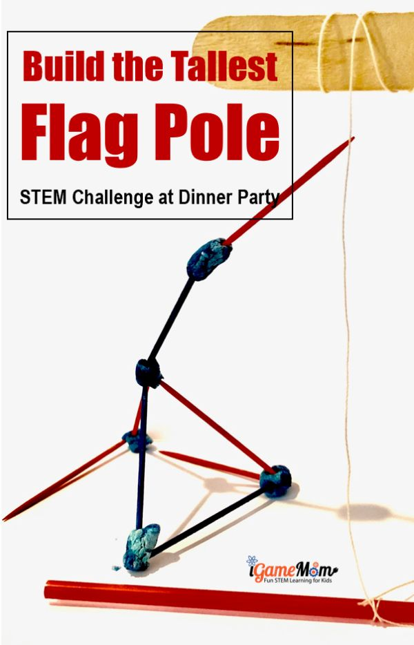 Minute to Win It Game STEM Challenge at Dinner Parties with a 4th of July patriotic theme. Easy 4th of July party activities for kids and adults with no prep needed. Printable game rules and score recording sheets.