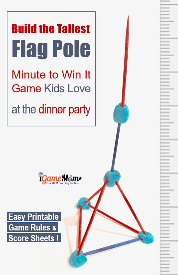 Build the tallest flag pole, patriotic STEM challenge party game for 4th of July dinner party. Easy Minute to Win It Game for kids and adults, no prep needed. Printable game rules and score recording sheets.