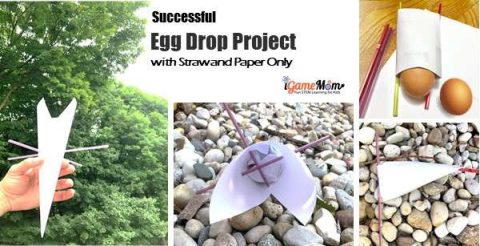 STEM challenge egg drop project straw paper