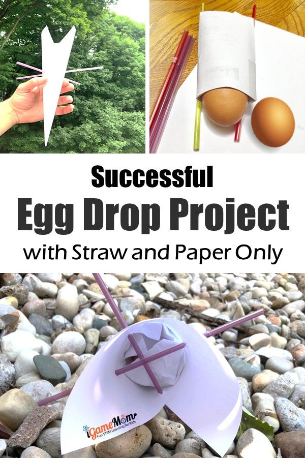 Successful Egg Drop project design with straw and paper. Project-based activity teaching Engineering design process. Visit the post to see the set up of the STEM Challenge and printable design process chart