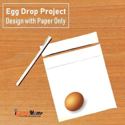 Egg drop STEM project, design with paper only. Engineering STEM Challenge fun with step-by-step guide