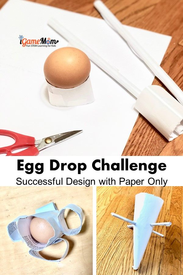 Egg drop stem challenge paper only design successful ideas and step-by-step guide, teaching kids engineering design process, physics science, critical thinking and problem solving.
