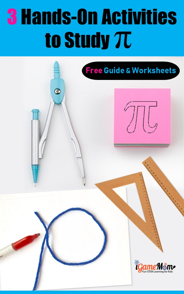 Hands On Math Acitivities for Pi Day with Free activity guide and worksheets for students. Fun STEM activity ideas