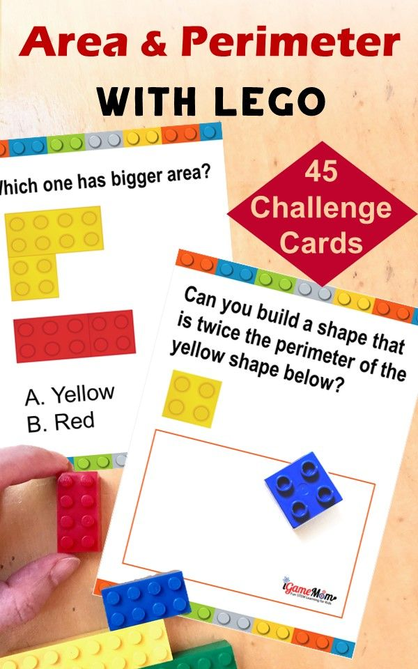 LEGO math build challenge to learn area and perimeter concepts, spacial reasoning, logic thinking, problem solving. fun STEM challenge with 50 challenge cards. Hands-on math game for kids learn geometry, great for math center, math club, after school practice.