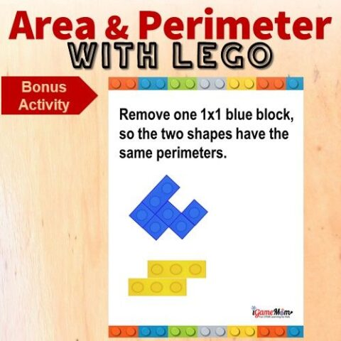 LEGO math challenge area perimeter game 5