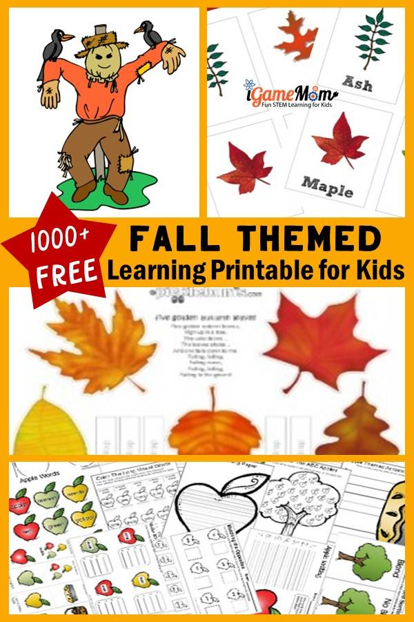 Fall themed free printable activities for kids: leaf, pumpkin, apple,...numbers, science, color. Fun autumn themed learning preschool to school age students.
