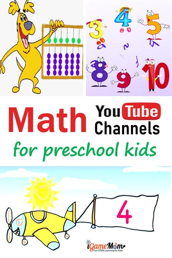 Math YouTube channels for preschool and kindergarten kids, with fun math videos and hands-on math games and math activity ideas