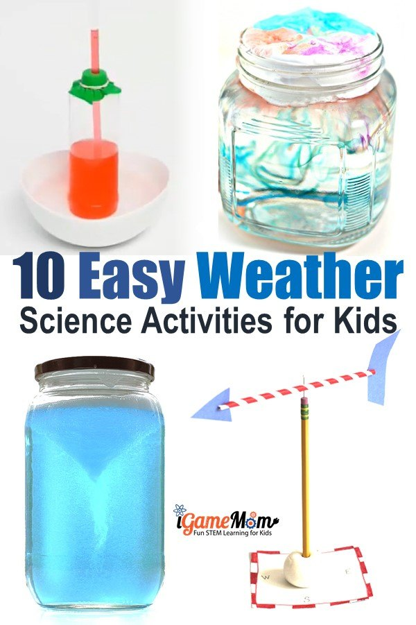 Weather science experiments for kids, easy simple hands-on STEM activities for science class science camp: create rainbow,  cloud in a jar, tornado, thunderstorms and rain... Fun weather activities all students love