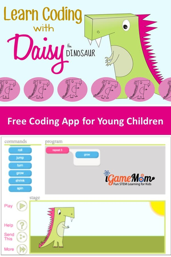 Learn computer programming at a young age with Daisy the Dinosaur, a free coding app for preschool kindergarden kids, girls and boys can learn computer coding with simple to follow instructions and fun games.