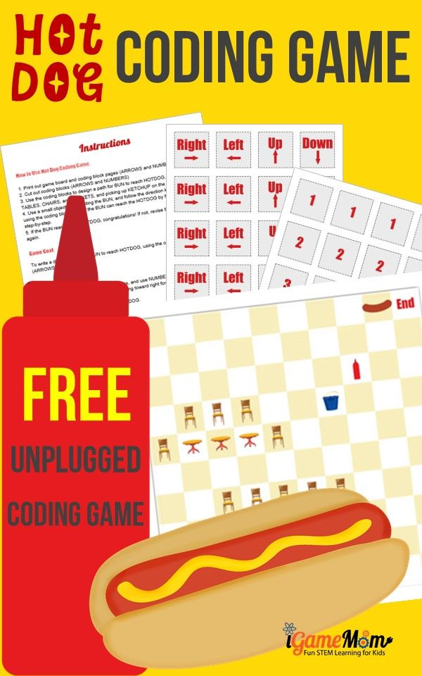 Free unplugged STEM activity for kids, Hot Dog coding game for kids. Help girls and boys learn coding without computer.
