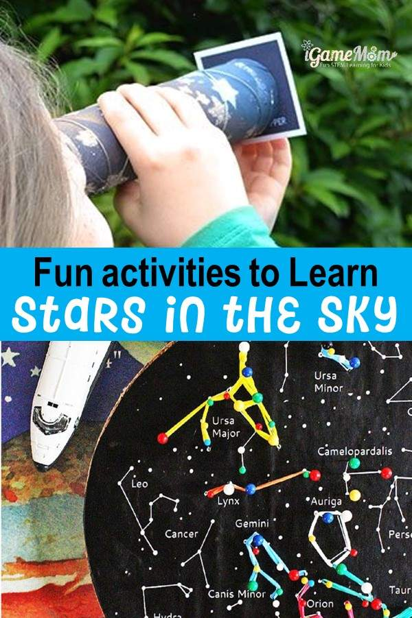 Fun constellation activities for kids to learn stars in the sky. Fun summer spring fall STEM activities outdoor and indoor.