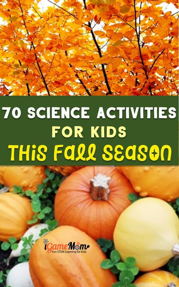Seasonal science activities for kids in the fall. Themed STEM activities for at home, classroom, homeschool or after school enrichment, pumpkins, leaves, apples, pine cones, sun, moon, stars, wind, rain.