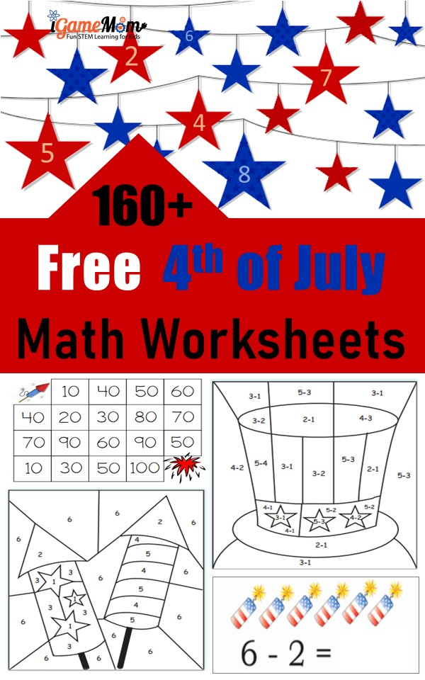 Free 4th of July Math worksheets for kids from preschool to kindergarten to Grade 6, for quiet time during the Red White Blue holiday celebration and summer family travel to prevent summer slide.