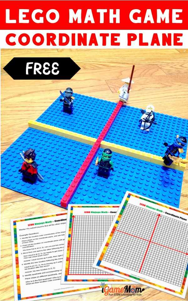 LEGO math game for kids learn coordinate plane and ordered pair with free game board and worksheet. Hands-on STEM activities encourage higher-level thinking skills.