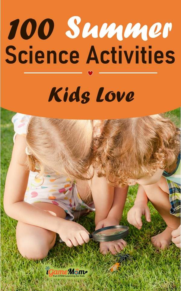 Hands-on easy summer science activities for kids, in backyard, at the park, in your kitchen, bird, bug, rain, wind, sun, moon, sand, water, ice. Have your own science lab with cool summer STEM ideas