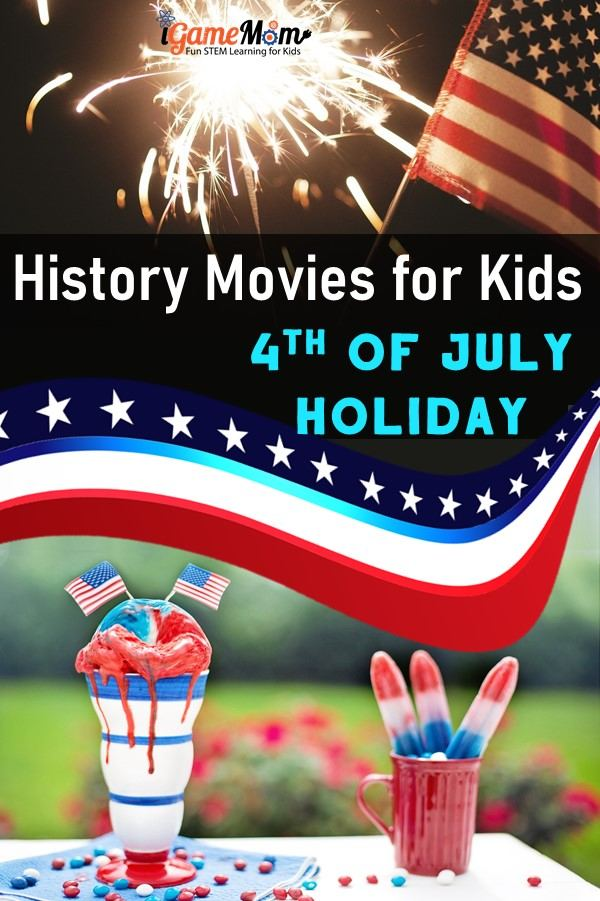4th of July movies teaching kids history of the holiday. Fun and educational for the Red White Blue celebration on Independence Day.