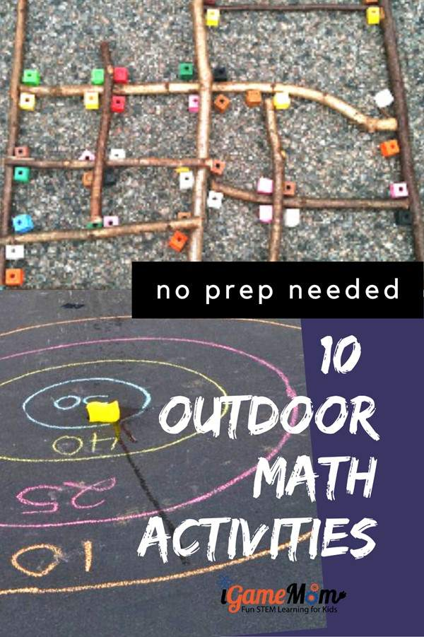 Fun outdoor math activities for kids, no preparation needed. STEM activities to learn numbers, shapes, angles, algebra, geometry, math problem solving for summer spring fall.