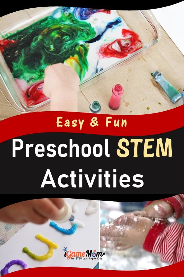 Easy fun STEM activities for preschool kids to learn science math engineering technology.