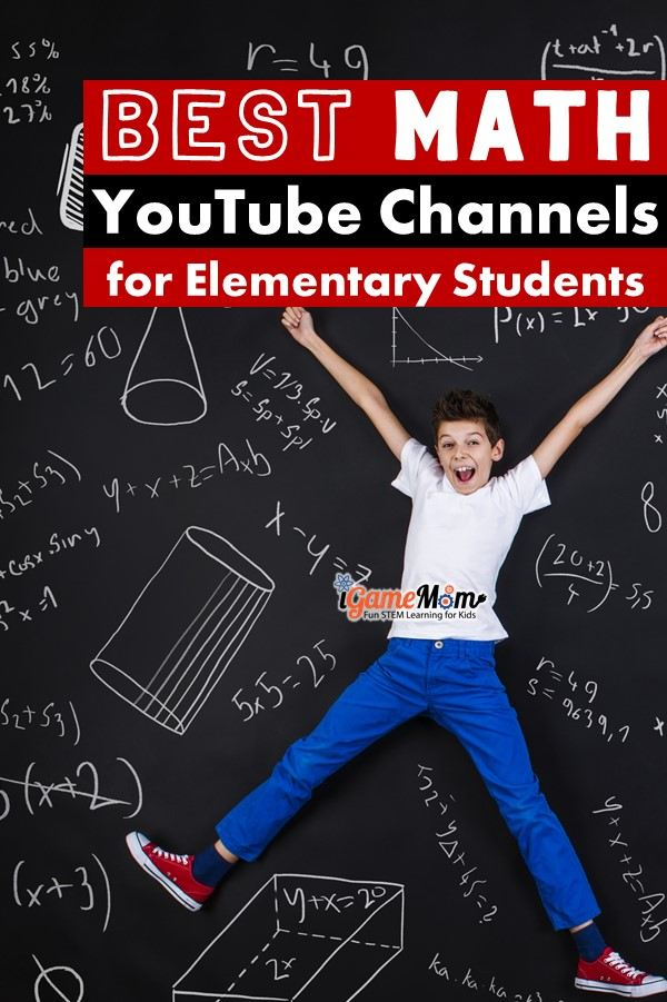 Best math YouTube channels for elementary students to learn math at home. Free online math resources for math games and math activities for math class, math center, homeschool, math homework help