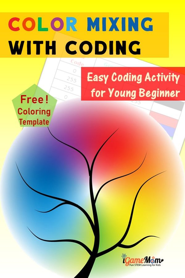 Fun coding activity for young children who just begin. Learn digital color and color mixing with RGB color code free download. Easy STEM activity for Hour of Code, computer introduction class, or digital art class.