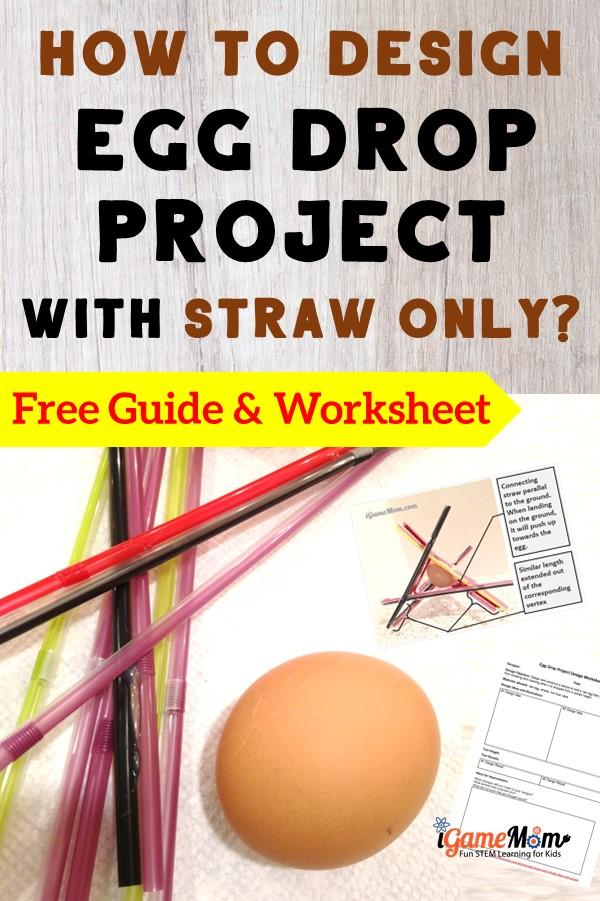 Egg Drop Challenge design with straw only, winning ideas and tips. Fun outdoor physics science STEM project for kids of all ages, fun science challenge for project-based learning.