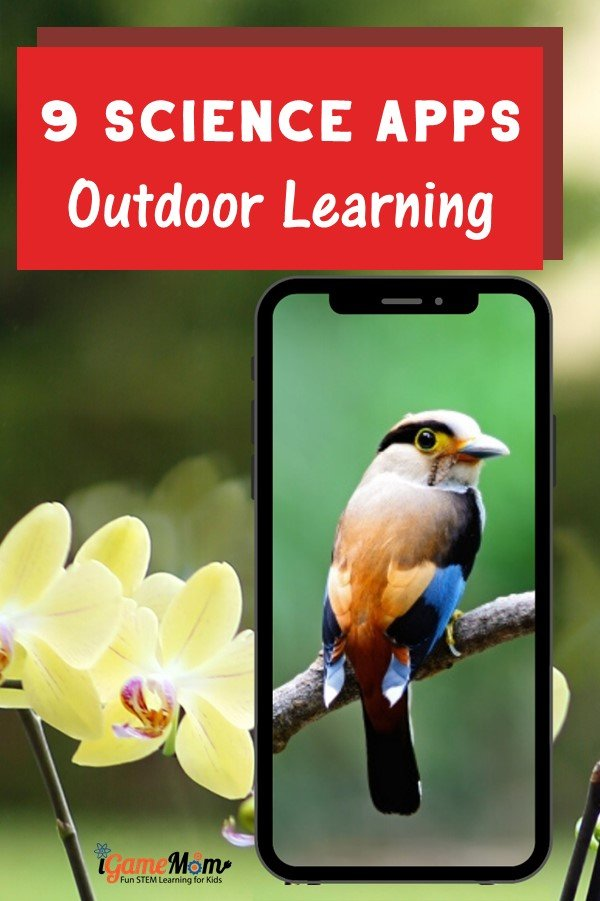 Science apps for outdoor learning, discover facts on birds, stars, plants, flowers, bugs. Fun STEM resources for outdoor education lab and curriculum for learning outside for homeschool