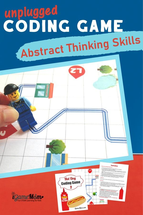 Printable coding game for kids to learn abstract thinking skill, crucial for computer coding. Unplugged STEM activity for boys and girls learn to coding skills without computers.