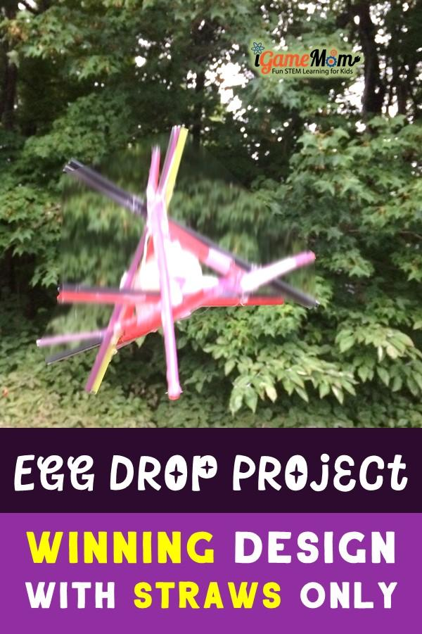 STEM Challenge: Egg drop science project design with straw winning ideas and tips. Fun outdoor physics science STEM project for kids of all ages, fun science challenge for project-based learning.