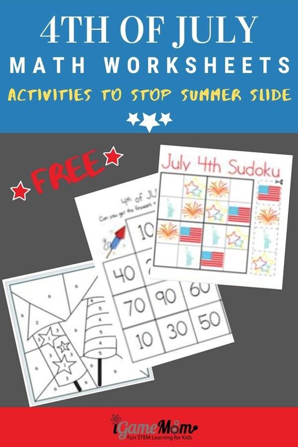 Free 4th of July Math worksheets for kids from preschool to kindergarten to Grade 6. Great for quiet time during the Red White Blue holiday celebration and summer family travel. Also good for preventing summer slide.