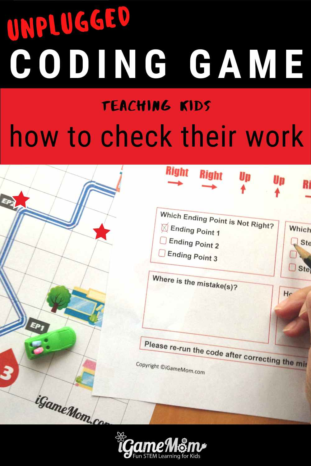 Coding game teaching kids how to check their work. No computer needed. Unplugged STEM activity for beginner girls and boys for Hour of Code, Tech Class, Homeschool.