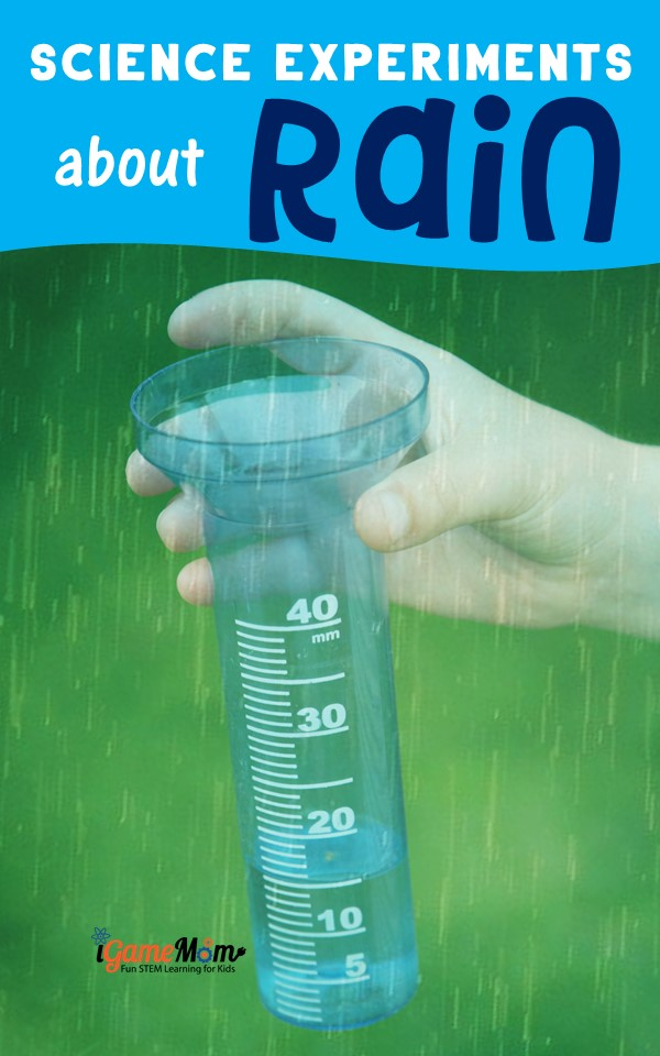 How to make it rain science activities kids love, cloud in a jar, make rain gauge, acid rain effect, measure rain pH. Great outdoor STEM fun for kids from preschool to school age. For weather unit, spring unit, water cycle unit, and nature science.