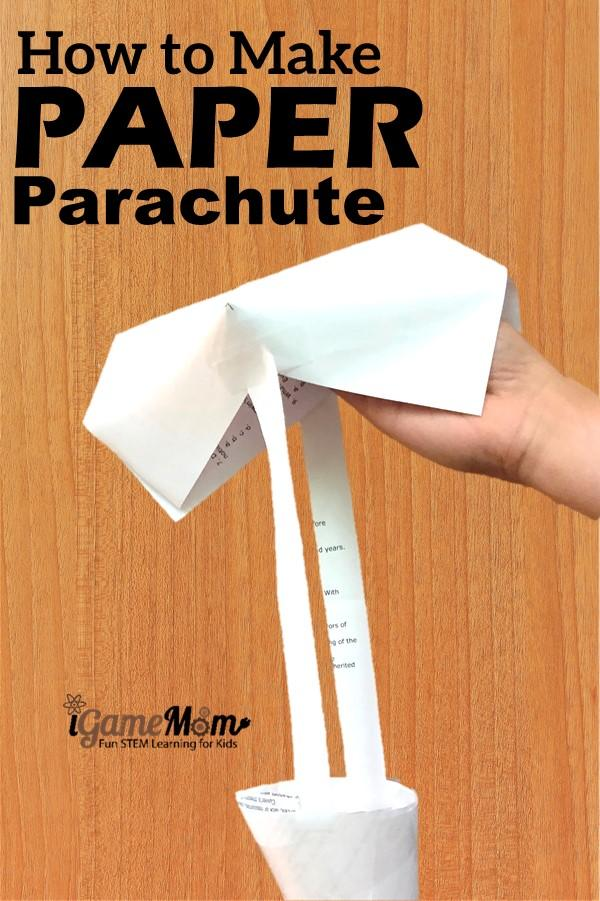 Step-by-step guide on how to build paper parachute, free science experiment guides using the paper parachute. STEM activities for all ages.