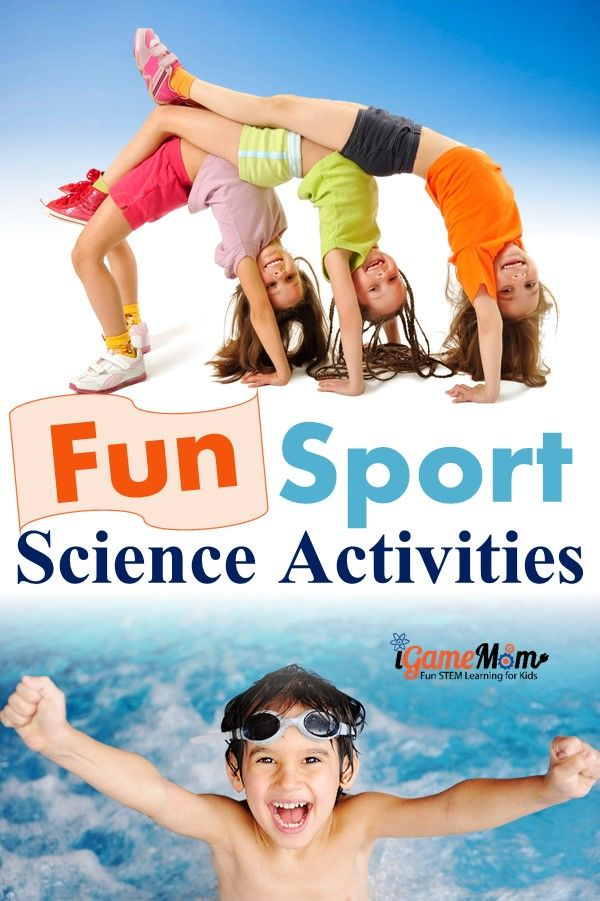 Sports science experiment activities for kids, from preschool, kindergarten to school age. Kids learn sports winning strategy, human body, physics science, and being active. Fun STEM ideas for science fair, PE, Olympic themed parties.